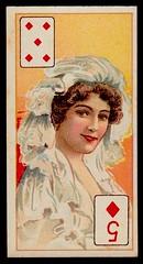 Cigarette Card - 5 of Diamonds (cigcardpix) Tags: cigarettecards advertising ephemera vintage beauty playingcard