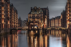 The Moated Castle in Hamburg's Warehouse District after a rainy day  (255°) (lutzp62) Tags: castle river bluehour hamburg germany architecture