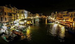 Rialto Bridge View (Andy.Gocher) Tags: andygocher canon100d canon1018mm europe italy venice rialto bridge night water waterfront reflections reflection buildings