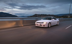 Nissan Skyline GTS-T R33 (eric.vanryswyk) Tags: road street city trees sunset summer sky canada car skyline lights evening nikon nissan outdoor dusk pavement okanagan august automotive columbia freeway vehicle british kelowna 20mm nikkor r33 f28 rolling gts gtr r32 r34 gtt d610 r35
