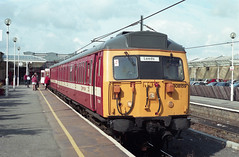 Class 308/1 EMU @ Ilkley, late 1990s [negative 9801] (graeme9022) Tags: door uk roof station electric train buildings slam suburban transport stock transportation multiple local passenger scheme 1990s unit electrification