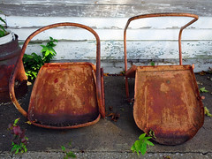 """Columbia Road House: Rusty Chairs (Wits End Photography) Tags: old plant building green abandoned broken metal architecture rural america concrete outside illinois weed chair rust midwest alone exterior outdoor pavement path decay seat country neglected rusty structure pale wear crack sidewalk faded forgotten american walkway worn oxidation vegetation lone weathered split discarded forsaken seating damaged left fracture solitary rejected corrosion cracked bleached faint outcast cleft washedout dumped fractured discolored """"cast aside"""""""