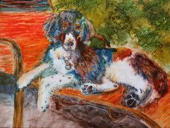 Sundog Polymer Painting (CreateMyWorldDesigns) Tags: dog sun inspiration watercolor painting puppy paint inspired canine clay challenge polymer alcoholink pcagoe