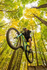 Launch (The Charliecam) Tags: autumn trees forest trek cycling maple jump michigan fallcolors mountainbike trails lansing tire biking 29 stache chupacabra andersonpark canon6d rokinon14mm 29plus