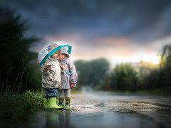 friendship (iwona_podlasinska) Tags: rain children childhood child sun magical iwonapodlasinska iwona umbrella autumn sky colors