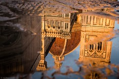Reflections at sunset: Il Duomo and Giotto's Bell Tower (Anthony Plancherel) Tags: sunset italy reflection tower church rain architecture square puddle golden florence worship cathedral bell pavement sidewalk renaissance giottos reflectyourworld santamariedelfioreilduomo