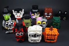 Series Three Spooky Blockheads (davekaleta) Tags: from black halloween monster werewolf cat pumpkin jack lego mr o witch vampire zombie dr lagoon dracula hyde devil lantern etsy mummy mad creature wolfman jekyll scientist blockhead frankensteins bricksbykaleta