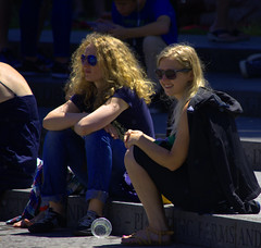 Audience (swong95765) Tags: women ladies females blonde blondes shades sunglasses audience seated steps