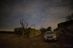 Skoda & Orion (Normann Photography) Tags: longexposure nightphotography sky car norway clouds stars automobile nightshot no sirius betelgeuse rigel nightsky cloudporn afterdark tjøme vestfold skodaoctavia orionsbelt thedevilisinthedetails canisminor starrysky