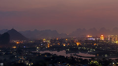 Guilin lights, Chuanshan Park  037A9260 (lycheng99) Tags: china park city travel pink panorama mountains beautiful river landscape lights liriver dusk guilin citylights layers pinksky guangxi panoramicview chinatravel beautifullandscape líjiāng layersofmountains chuanshanpark
