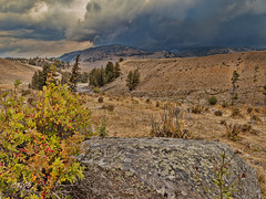 Lamar River rock and storm (chasingthewildoutdoors) Tags: yellowstone yellowstonepark fall sky clouds storm storms canon 5dmkii beauty