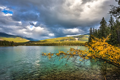 Touch of Autumn (Daniel.Peter) Tags: annettelake canada kanada see spiegelung wolken clouds dpe3x lake reflection jaspernationalpark