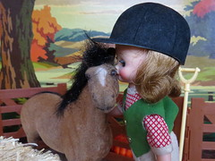 4. Kisses from Betsy (Foxy Belle) Tags: betsy mccall tiny doll horse flocked miniature vintage dollhouse paint by numbers farm hay barn equestrian pony diorama 16 rake fall autumn pals