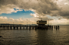 The_Dock_At_Lake. (Anacronimo.) Tags: clouds nuvole cielo sky pontile attracco lago