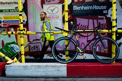 Site Safety (stevedexteruk) Tags: scaffolding man trolley high visibility delivery soho street peter blenheim house construction cycle bicycle bike beard
