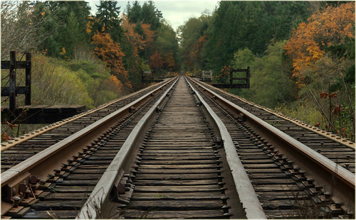 walking the train tracks on a dreary fall day, From FlickrPhotos