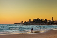 Two Fishermen In The Sunset (k009034) Tags: 500px waves australia coolangatta copy space gold coast pacific queensland tranquil scene beach buildings evening fishing hobby leisure man no people ocean sand sea shore sky sunset travel destinations trees two water teamcanon