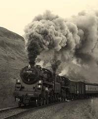 Monochrome clag (feroequineologist) Tags: 76084 76038 76079 steam railway train northyorkshiremoorsrailway nymr