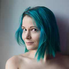 SelfPortrait (meevir) Tags: people girl dyedhair portrait indoor female anthocyanin bluehair paleskin self selfportrait naturallight 50mm синиеволосы автопортрет