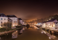 Down River (garethleethomas) Tags: fog freeze cold weather view landscape river night canon lights stars dark town street outdoor pembrokeshire wales uk road water sky waterfront