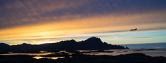Ready for landing at Andenes, Norway.  Inn for landing p Andenes i novemberlys. (harald.bohn) Tags: andenes fly plane mountains fjell solnedgang sunset silhouette