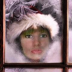 Myself als Eisknigin (almresi1) Tags: ice eisblumen fenster window woman frau gesicht face portrait nikolaus weihnachten winter christmas