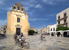 Favignana Cyclists (albireo 2006) Tags: italy cyclists italia day clear sicily piazza sicilia favignana egadi isoleegadi egadiislands chiesamatrice piazzamadrice