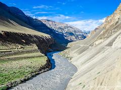 contrasting landscapes with river dividing greens & barren (deeptipahwa) Tags: road travel india mountains landscape photography roadtrip spiti ladakh himachalpradesh kinnaurleh