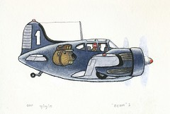 Imaginary WWII Military Plane / Sketchbook (steveartist) Tags: aircraft airplanes sketchbook 2015 militaryairplanes whimsicalart stevefrenkel watercolorink imaginaryplanes blueairplanes twinenginepistonengineairplanes