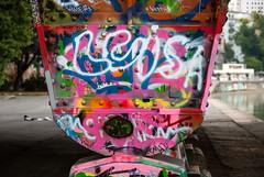 Colorful Pillar (z_rrr) Tags: vienna bridge graffiti pillar donaukanal