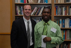Shawn Ahern with Kadeem Massiah '08 - recipient of William J. Kane Scholarship in 2008 (BC High Archives) Tags: 2008 scholarships ahern massiah kanewilliamjscholarship murphyalumniroom