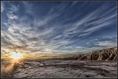 Contraluz (Fernando Fornis Gracia) Tags: espaa naturaleza sunrise landscape paisaje cielo nubes navarra airelibre aragn amanacer lasbardenasreales formacionesgeolgicas