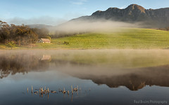The Oaks Estate Manager's House (Panorama Paul) Tags: mist mountains sunrise reflections southafrica dam westerncape overberg greyton nikkorlenses nikfilters nikond800 wwwpaulbruinscoza paulbruinsphotography theoaksestate