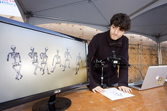 A student from the Art Institute of Pittsburgh displays his digital animation skills.