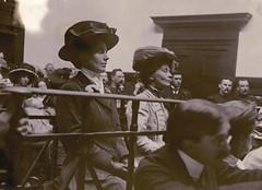 Evelina Haverfield and Emmeline Pankhurst in court, c.1909.