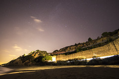 Sant Pol (Catalunya) (Oscar Castella) Tags: lightpainting agua playa arena estrellas sant pol nocturno calella