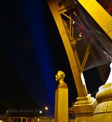 Tour Eiffel  Paris; buste de Gustave Eiffel (louis.labbez) Tags: light paris france monument night town tour lumire eiffel nuit ville buste clairage tricolore labbez