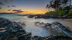 Tropical Island Sunset (PIERRE LECLERC PHOTO) Tags: travel sunset sea sun seascape beach nature water landscape island hawaii waves lifestyle maui adventure explore pacificocean hawaiian tropical destination makena lavarocks secretcove pierreleclercphotography