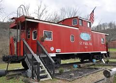 St. Paul, Virginia (2 of 6) (Bob McGilvray Jr.) Tags: railroad red train private virginia nw steel tracks stpaul caboose business va cupola norfolkwestern