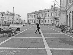Untitled 52 (Gianluca Vecchi Photography) Tags: street travel urban blackandwhite bw woman texture girl monochrome lines square daylight travels day outdoor streetphotography pedestrian slovenia piran passerby bnw yugoslavia pirano portoro portorose