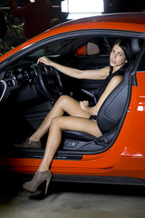 Modells at the exhibition (Majorimi) Tags: modell woman girl pose studio canon eos 70d digital color colorful nice hungary car ford mustang orange set style light flash