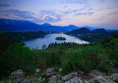 Bled from Above (charlottebrettphotography) Tags: blejskojezero lakebled countryside scenery landscape view mountains europe julianalps lake slovenja slovenia bled