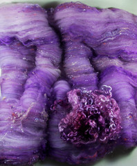 Violet Orchid Wild Card Bling Batt (yarnwench) Tags: batt artbatt spinning felting yarnwench