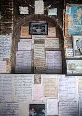 Cafe with the wall decorated with poems and old pictures, Fars province, Shiraz, Iran (Eric Lafforgue) Tags: 0people attraction book colorimage display handwriting indoors iran middleeast nopeople nobody nostalgia old outdoors page paper persia poem poems poetry printed printworks script shiraz tourism tourist touristic traditional verse vertical written farsprovince