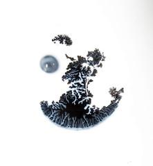 Moon Clown Breakdown (Sea Moon) Tags: latex liquid flow paint black poster dendrites bubble fluid flowing fingers branches