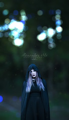 Pale Moonlight (taylormackenzie) Tags: girl woman beautiful pretty scary witch halloween cape dark bokeh autumn fall north carolina graveyard creepy purple hair makeup woods trees forest spooky remember me photography