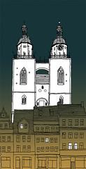 Stadtkirche, Wittenberg_October 2016 (stevefaradaysketches) Tags: gothic church stadtkirche nightscene urbansketch inksketch wittenberg