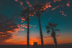 (Double) Sunset over Lifeguard Chair in Venice (masemase) Tags: winter beach california clouds fall la los angeles november pacific ocean santa monica sky sunset venice palm trees palms chair lifeguard