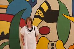 Sue and Detail of Composition, 1953, Fernand Leger, Museu Coleccao Berado, Belem, Lisbon (Peter Cook UK) Tags: museu composition 1953 lisbon coleccao museum detail leger fernand belem 2016 art berado portugal