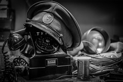 Televerket (1853-1993) in memoriam (MagnusBengtsson) Tags: fs161106 fotosondag huvudbonad televerket mössa hat telefon phone retro svartvitt blackandwhite